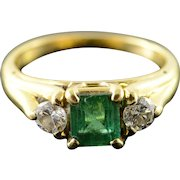 18K 1.10 CTW Emerald Diamond Engagement Ring Size 5.75 Yellow Gold [QPQX]