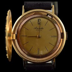 14K Arenda Faux Coin Vintage Mechanical Watch with Hidden Face  Yellow Gold  [QWQX]