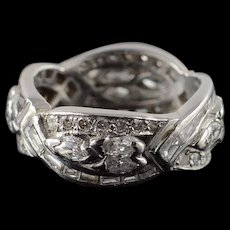 Platinum 3.00 CTW Diamond Fancy Wedding Band Ring Size 6.5  [QWQX]