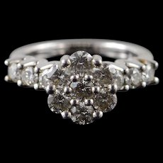 14K 1.75 CTW Diamond Cluster Engagement Ring Size 7 White Gold [QWQX]
