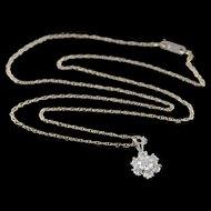 "14K 1.00 CTW Diamond Halo Flower Pendant Link Necklace 18"" White Gold  [QPQX]"