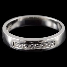 Platinum 0.50 CTW Diamond Princess Cut Wedding Band Ring Size 10.25  [QWQX]
