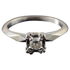 14K 0.20 CT Round Diamond Engagement Ring Size 7 White Gold [QWQX]