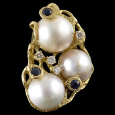 18K HUGE Designer 15mm Pearl 1.35 CTW Sapphire Diamond Ring Size 9 Yellow Gold [QWQX]