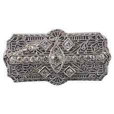 14K Art Deco 1.25 CTW DIamond Filigree 39.6mm Pendant/Pin White Gold  [QWXR]