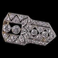 Art Deco 1.75 Ctw Diamond Milgrain Geometric Pin/Brooch White Gold  [QWXR]