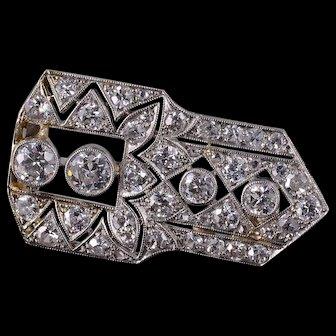 Art Deco 1.75 Ctw Diamond Milgrain Geometric Pin/Brooch White Gold  [QWXF]