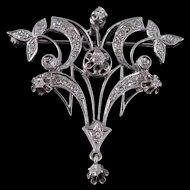 14K Victorian 0.60 Ctw Diamond Floral Vine Pendant/Pin White Gold  [QWXR]