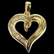 14K 0.80 Ctw Baguette Diamond Channel Inset Heart Pendant Yellow Gold  [QWXR]
