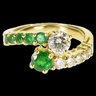 18K 1.90 Ctw Emerald Diamond Round Cut Bypass Ring Size 5.5 Yellow Gold [QWQQ]