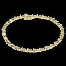 "10K 0.90 Ctw Diamond Two Tone Starburst Wave Tennis Bracelet 7"" Yellow Gold  [QWXF]"