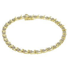 "10K 0.90 Ctw Diamond Two Tone Starburst Wave Tennis Bracelet 7"" Yellow Gold  [QWXF]"