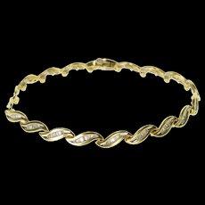 14K 2.66 Ctw Baguette Diamond Wavy Tennis Bracelet 7.25 Yellow Gold  [QWXF]