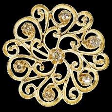 14K 0.50 Ctw Diamond Round Ornate Scroll Design Pendant/Pin Yellow Gold  [QWXF]
