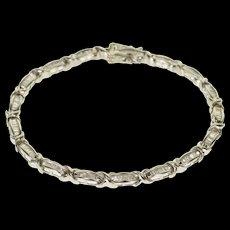 """10K 2.38 Ctw Baguette Diamond Inset Tennis Bracelet 7.25"""" White Gold  [QWXF]"""
