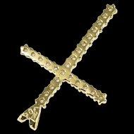 14K 0.72 Ctw Diamond Encrusted Cross Religious Symbol Pendant Yellow Gold  [QWXR]