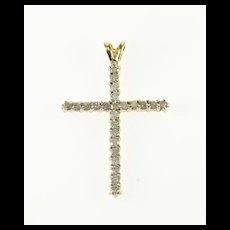 14K 0.72 Ctw Diamond Encrusted Cross Religious Symbol Pendant Yellow Gold  [QWXF]