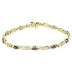 "14K 2.20 Ctw Diamond Sapphire Diamond Bar Link Bracelet 7"" Yellow Gold  [QWXF]"
