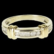 10K 0.15 Ctw Diamond Channel Inset Wedding Band Ring Size 5.25 White Gold [QWQQ]