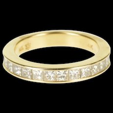 14K 1.00 Ctw Princess Channel Inset Wedding Band Ring Size 6.5 Yellow Gold [QWQX]