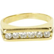 14K 0.75 Ctw Diamond Channel Inset Squared Band Ring Size 9 Yellow Gold