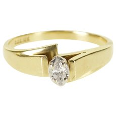 10K Marquise Diamond Retro Bypass Engagement Ring Size 6.75 Yellow Gold [QWQX]