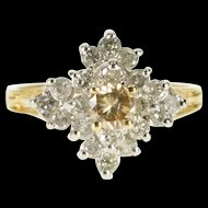 14K 0.95 Ctw Diamond Pointed Cluster Statement Ring Size 5.75 Yellow Gold [QWXT]