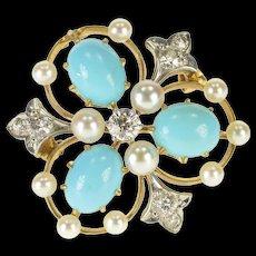 18K 0.34 Ctw Diamond Turquoise Pearl Victorian Pin/Brooch Yellow Gold  [QWQQ]