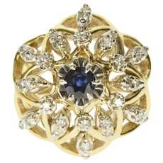 14K 0.92 Ctw Diamond Sapphire Floral Design Ring Size 5.5 Yellow Gold [QWQX]