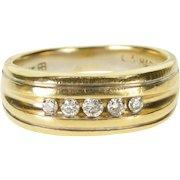 14K 0.20 Ctw Diamond Channel Set Men's Wedding Band Ring Size 9 Yellow Gold