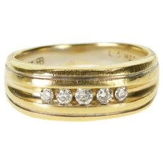 14K 0.20 Ctw Diamond Channel Set Men's Wedding Band Ring Size 9 Yellow Gold [QWQX]