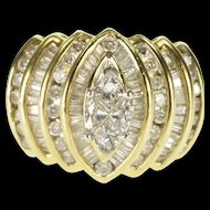 14K 1.70 Ctw Diamond Encrusted Mosaic Marquise Ring Size 9.25 Yellow Gold [QWQQ]