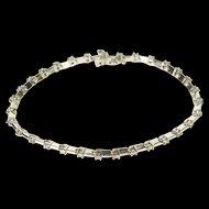 "10K 0.93 Ctw Diamond Inset Bar Link Tennis Bracelet 7"" White Gold  [QWQX]"