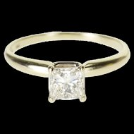 14K 0.50 Ct Diamond Princess Cut Solitaire Engagement Ring Size 5 White Gold [QWQQ]