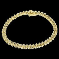 "10K 1.50 Ctw Diamond Inset Wave Link Tennis Bracelet 7"" Yellow Gold  [QWQX]"