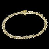 "10K 0.35 Ctw Diamond Wavy Starburst Link Tennis Bracelet 7"" Yellow Gold  [QWQX]"