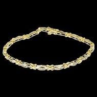 "14K 1.80 Ctw Diamond Two Tone Criss Cross Tennis Bracelet 7.25"" Yellow Gold  [QWQX]"