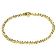 "14K 1.20 Ctw Diamond Inset Wavy Link Tennis Bracelet 7"" Yellow Gold  [QPQQ]"