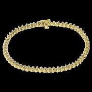 "14K 1.20 Ctw Diamond Inset Wavy Link Tennis Bracelet 7"" Yellow Gold  [QWQX]"