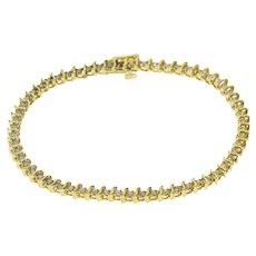 "14K 1.20 Ctw Diamond Inset Wavy Link Tennis Bracelet 7"" Yellow Gold  [QWXK]"