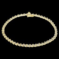 "10K 0.16 Ctw Diamond Starburst Wavy Link Tennis Bracelet 7"" Yellow Gold  [QWQX]"