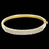 "14K 1.86 Ctw Diamond Encrusted Tiered Bangle Bracelet 7"" Yellow Gold  [QWQX]"