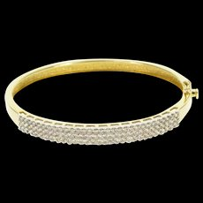"14K 1.86 Ctw Diamond Encrusted Tiered Bangle Bracelet 7"" Yellow Gold  [QWQX]"