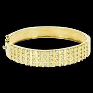 "14K 6.80 Ctw Fancy Yellow Diamond Inset Bangle Bracelet 6.5"" Yellow Gold  [QWQX]"