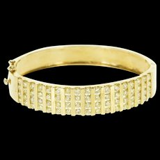 "14K 6.80 Ctw Fancy Yellow Diamond Inset Bangle Bracelet 6.5"" Yellow Gold  [QWQX]"