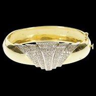 "14K Victorian 1.50 Ctw Diamond Scalloped Bangle Bracelet 6.5"" Yellow Gold  [QWQX]"