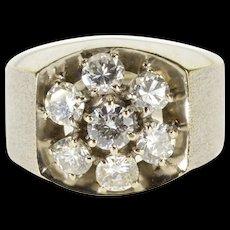 18K 1.75 Ctw Diamond Inset Graduated Textured Men's Ring Size 9.25 White Gold [QWQX]