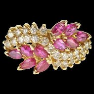 14K 2.20 Ctw Diamond Syn. Ruby Ornate Bypass Cluster Ring Size 7.5 Yellow Gold [QWQQ]