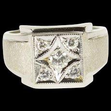 18K 0.25 Ctw Diamond Inset Square Milgrain Men's Ring Size 10.75 White Gold [QWQX]