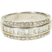 14K 1.10 Ctw Diamond Channel Encrusted Wedding Band Ring Size 6 White Gold [QPQX]